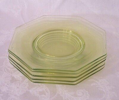 Octagon Vaseline Glass, 5 Salad Plates yellow uranium glass