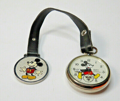 Disney Ingersoll Mickey Mouse Pocket Watch 1933 Repro with Box W/paperwork
