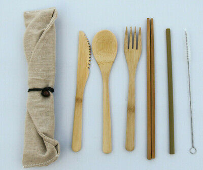 Bamboo Flatware Set, Bamboo Reusable Utensil Set, Green Travel Utensils 7pcs