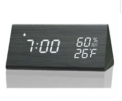 Digital Alarm Clock, with Wooden Electronic LED Time Display, 3 Alarm Settings,