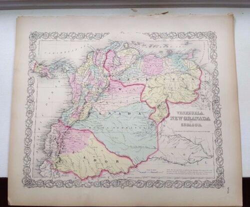 VERY NICE 1856 Colored Map - VENEZUELA, NEW GRANADA & ECUADOR - Colton