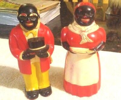 """Rare Old Vintage Black Americana Chef & Mammy Shakers 5 1/4"""" Tall 1930/40""""s"""