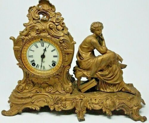 """Ansonia """"Trilby"""" Figural 8 Day Mantle Clock -  1896-1901 - Antique - Works !!"""