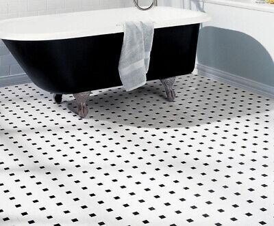Soho White Matte with Black Dot Pinwheel Porcelain Mosaic, Floor And Wall Tile 4