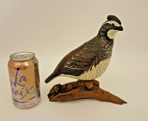 "VINTAGE HAND CARVED WOOD PAINTED KING QUAIL SCULPTURE 8.5"" TALL ARTIST SIGNED"