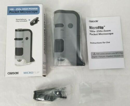 Carson MicroFlip 100-250x LED & UV Lighted Pocket Microscope With Flip Dow - F S