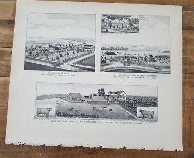 Antik Stahl Gravur - Ahorn Park Lager Farm / Jf Denneler - 1887 Kansas Atlas ()
