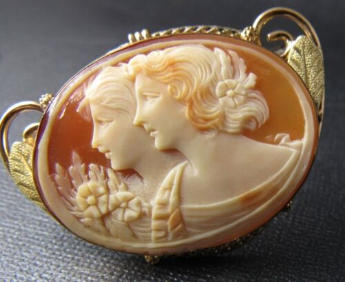 Beautiful and rare, a lovely antique Edwardian 10Kt yellow gold coral cameo pin.