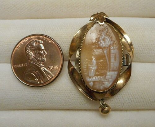 Small Old Victorian Gold-Filled Shell Cameo Brooch Pin Landscape Rebecca at Well