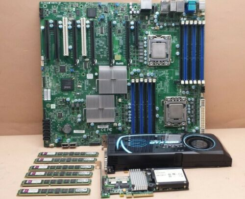 SUPERMICRO X8DTG-QF SERVER MOTHERBOARD + XEON CPUs, 24GB RAM, RAID & VIDEO CARDS