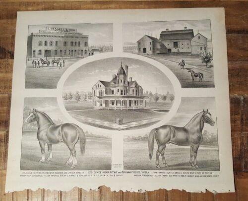 Antique Steel Engraving - E. BENNETT & SON - 1887 KANSAS ATLAS