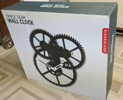Kikkerland Triple Gear Black Wall Clock Moving Modern Cog Clock