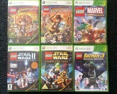 XBOX 360 LEGO GAMES BUNDLE - BATMAN 3, 2 STAR WARS, INDIANA JONES 1, 2,   MARVEL