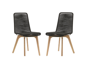 2 PEDRO ROPE OUTDOOR DINING CHAIRS – BLACK