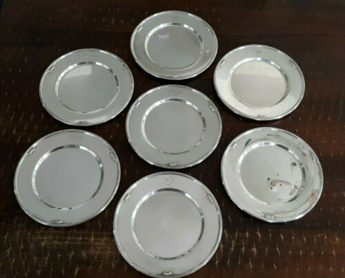 Antique Brand Chatillion Sterling Charger Plates With Monogram-Set of 7