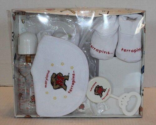NIB Maryland Terrapins 6 Piece Baby Gift Set In Box #102393 Bottle Rattle Paci..