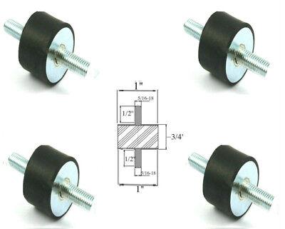 4 Rubber Vibration Isolator Mounts 1 Dia X 34 Thk 516-18 X 12 Long Stud