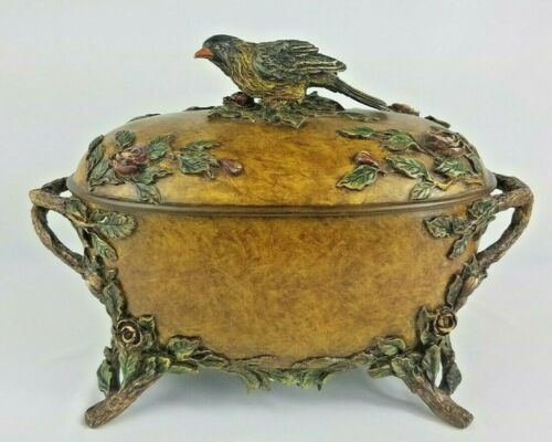 Rare Ornate Box Falcon Handle Lid W/Raised Roses, Leaves And Branches Footed