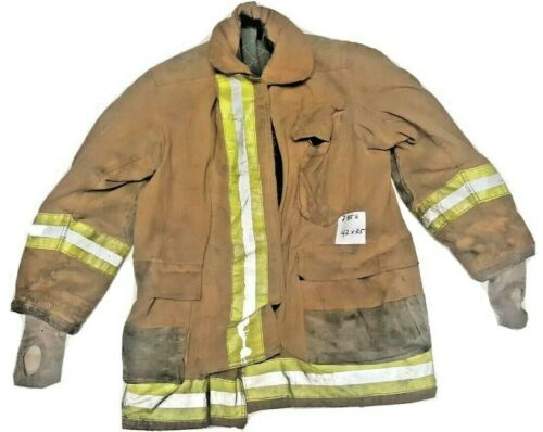 42x35 Globe Firefighter Brown Turnout Jacket Coat with Yellow Tape J856