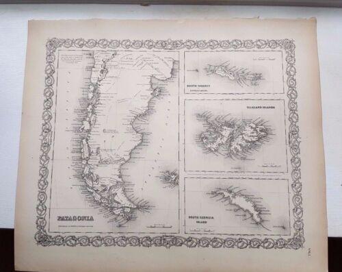 1856 Map - PATAGONIA, SOUTH ORKNEY FALKLAND ISLANDS & SOUTH GEORGIA ISLAND