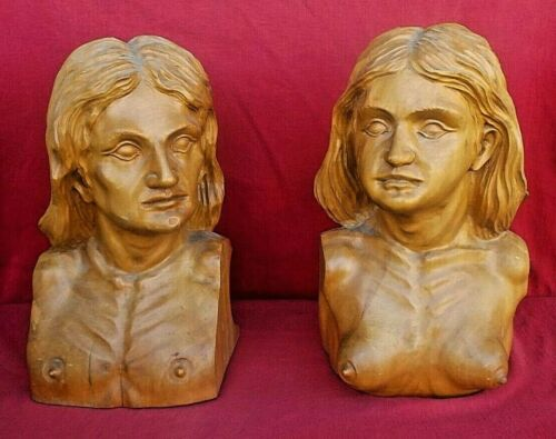 Antique Pair of Wooden Busts 1800