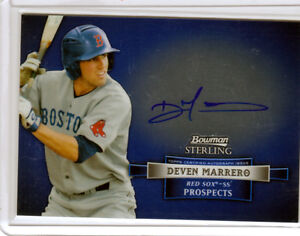 2012 Bowman Sterling Deven Marrero Boston Red Sox Prospect Blue Ink Auto