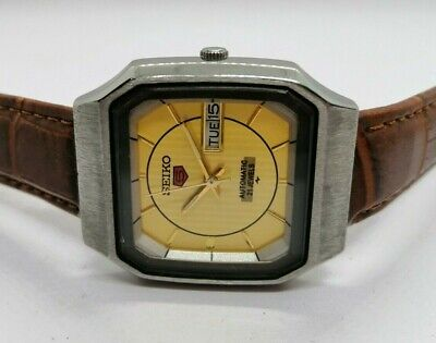 ORIGINAL VINTAGE SEIKO 5 AUTOMATIC DAY-DATE JAPAN MADE MEN'S WRISTWATCH.