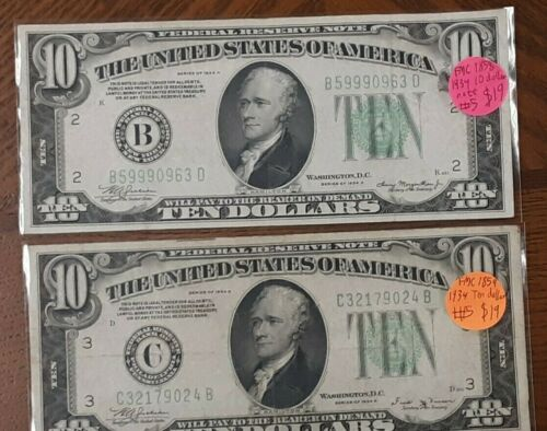 One (1) 1934 Ten ($10) Dollar Green Seal
