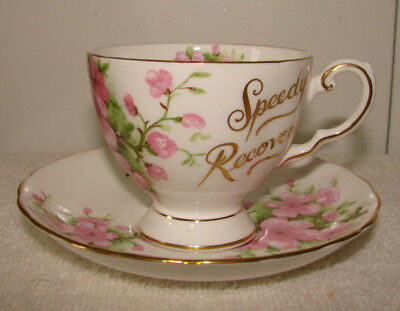 Vintage Tuscan English Fine Bone China Pink Floral Speedy Recovery Cup Saucer