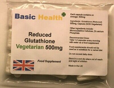 GLUTATHIONE x 30 Capsules 500mg Reduced Vegetarian Antioxidant Immune Whitening