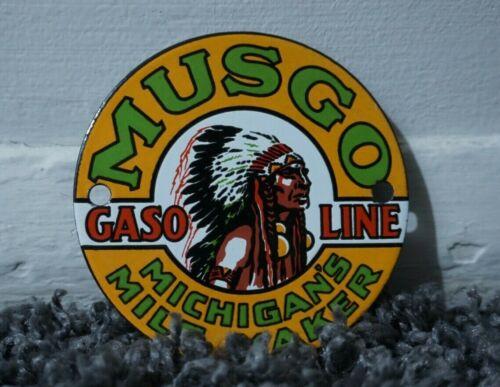 VINTAGE MUSGO PORCELAIN SIGN GAS MOTOR OIL METAL SERVICE STATION GASOLINE RARE