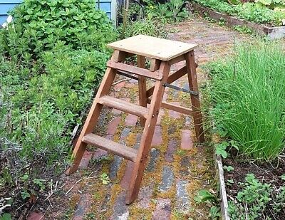 Old Vintage Wooden Step Ladder,Rustic Garden Wedding Display Prop, Kitchen Stool