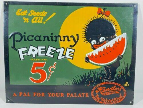 Black Americana Picaninny Freeze Sign Hendlers Ice Cream 12x9