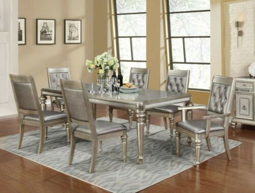 Modern Glam 7-Piece Dining Room Set Table with Extension Leaf, Metallic Platinum
