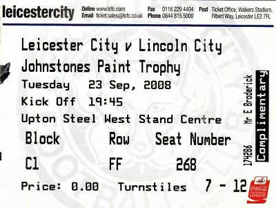 Ticket - Leicester City v Lincoln City 23.09.08 JPT