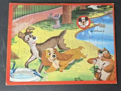 Vintage 1960s Jaymar Walt Disney Mickey Mouse Club Lady and the Tramp Puzzle
