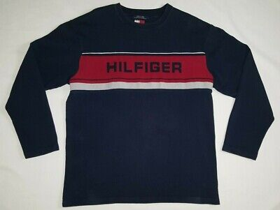 VTG Tommy Hilfiger Sweater Big Spellout Sweatshirt Pullover Navy 90s Large