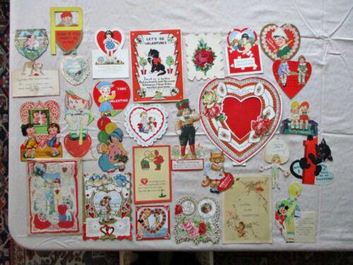 28 Vintage VALENTINES, Paper Lace,Novelties, 1930-1950