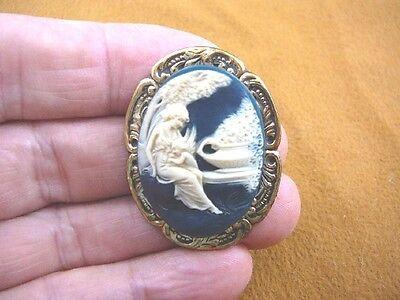 (CS56-15) WOMAN CHERUB navy ivory CAMEO leaf brass pin Pendant Jewelry brooch Ivory Leaf Chandelier