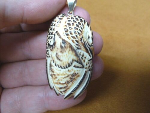 (j-wolf-61) brown howling WOLF + EAGLE aceh bovine bone carving Coyote pendant