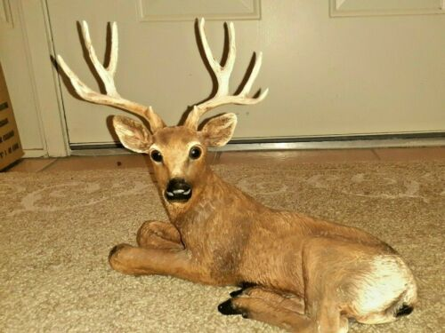 12 Point Deer Buck Resin Statue Laying Down
