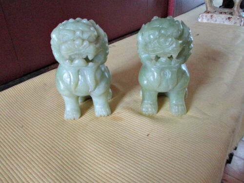 "Vintage Pair of Hand Carved FOO DOGS, Stone or Jade,4 1/2"" tall, 2 1/2"" wide"