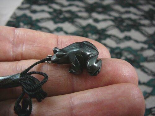 an-frog-3) little FROG Black Hematite carving Pendant NECKLACE FIGURINE gemstone