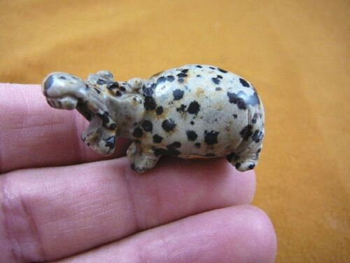 (Y-HIP-557) little spotted HIPPO Hippopotamus stone Gemstone carving love hippos