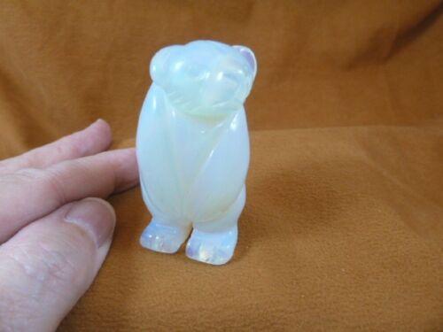 (Y-BEA-ST-717) White Opalite STANDING BEAR gemstone carving FIGURINE bears