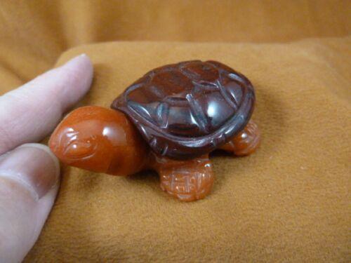 Y-TUR-LAT-704) red + orange TURTLE tortoise 2 piece carving FIGURINE gemstone