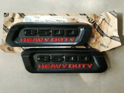 NEW 2019-2021 Dodge Ram 3500 Heavy Duty Black 2 Hood Emblems / Nameplates, OEM