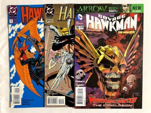 (3) HAWKMAN Comics Lot  - Vol. 3 #5 #21 & Savage #16 (1993, 2011, DC)