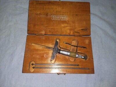 Vintage Starrett Blade Depth Micrometer Original Wood Case