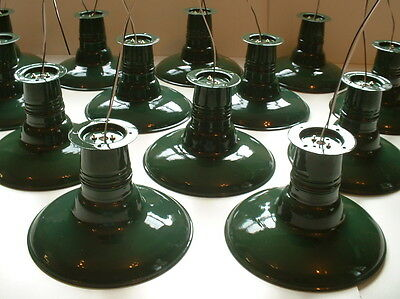 "Porcelain 12"" Flush Mount Industrial Green Barn Light Lamp Gas Station vtg"